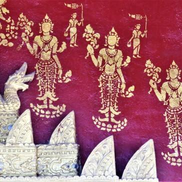 Detalhe da pintura externa do Wat Sibounheuang