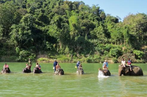 Nosso grupo brincando na água com os elefantes!
