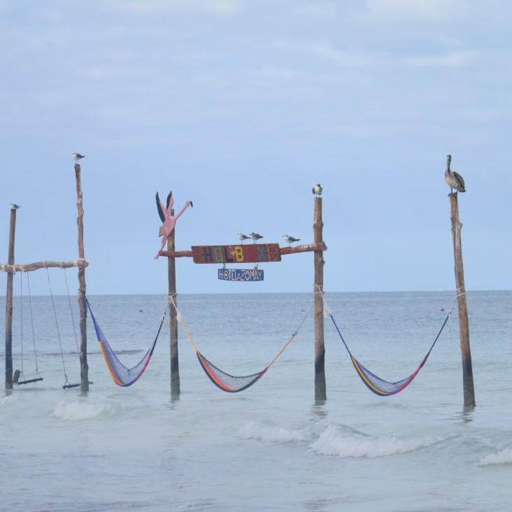 Redes no mar em Holbox